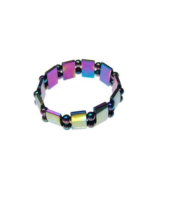 Pulsera hematite tableta arco iris doble (10ud)