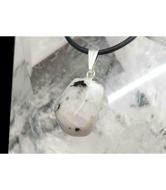 Colgante rodado piedra luna plata (5ud)