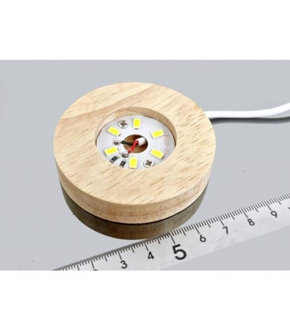 Base de luz led usb madera 6 cm
