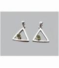 Colgante triangúlo cabujón olivino tallado plata
