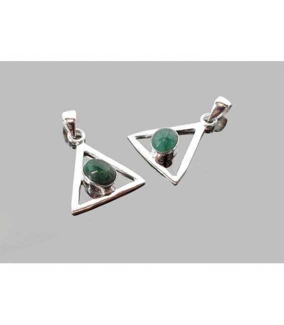 Colgante triangúlo cabujón esmeralda plata