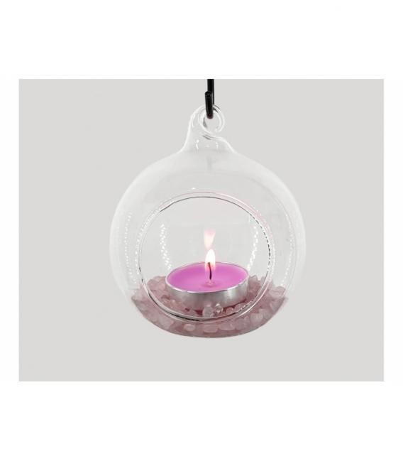 Portavela ola esfera grande cuarzo rosa