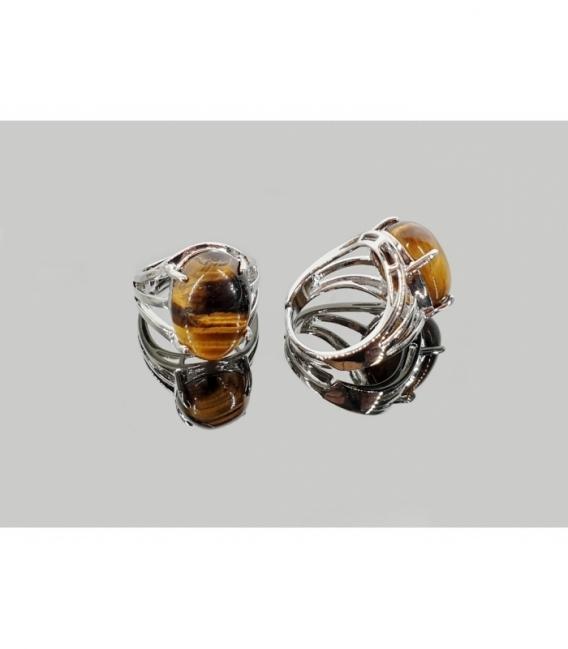 Anillo adaptable acero hipoalergénico cabujón ojo de tigre (2ud)