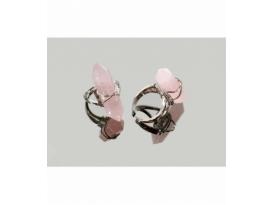 Anillo adaptable acero hipoalergénico biterminado cuarzo rosa