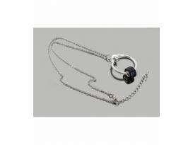 Collar acero plateado círculo con obsidiana