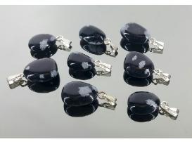 Colgante rodado obsidiana nevada plata (5ud)